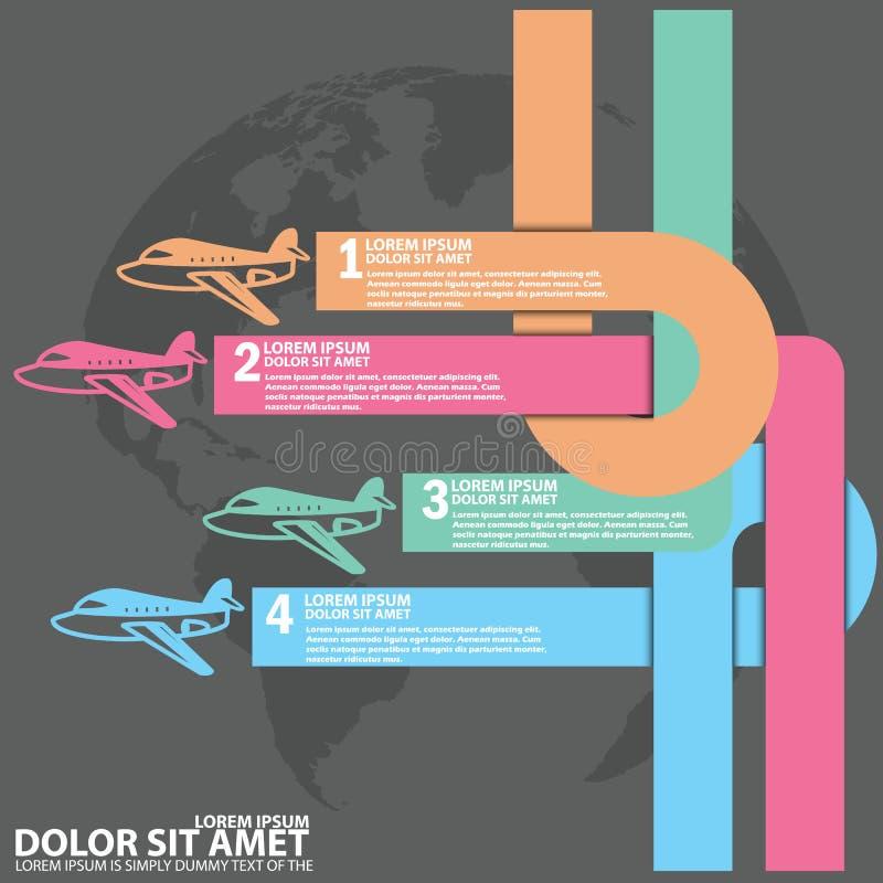 平面象运输飞行和空白的颜色条纹 库存例证