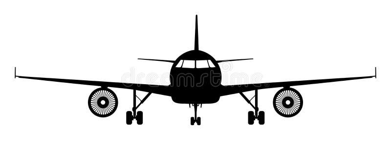 平面象,飞机工业图纸  班机正面图–传染媒介 向量例证