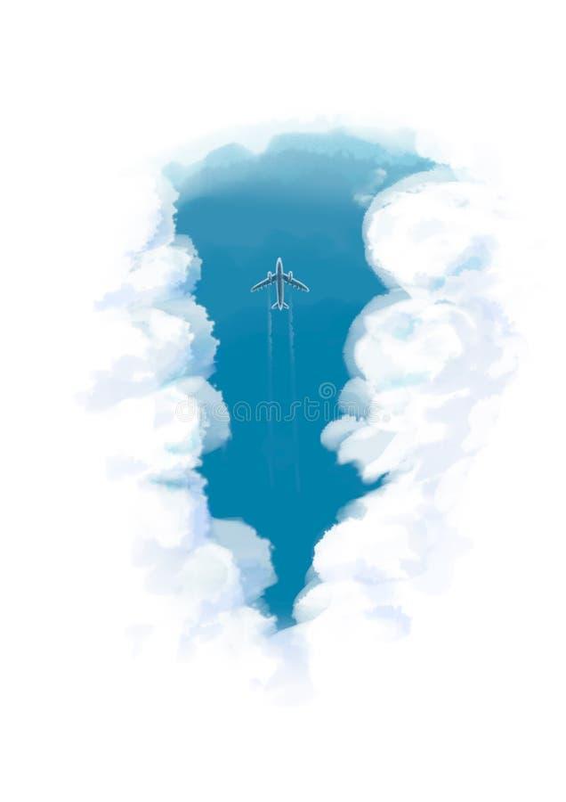平面飞行的数字例证通过云彩慢行眼睛视图 库存例证