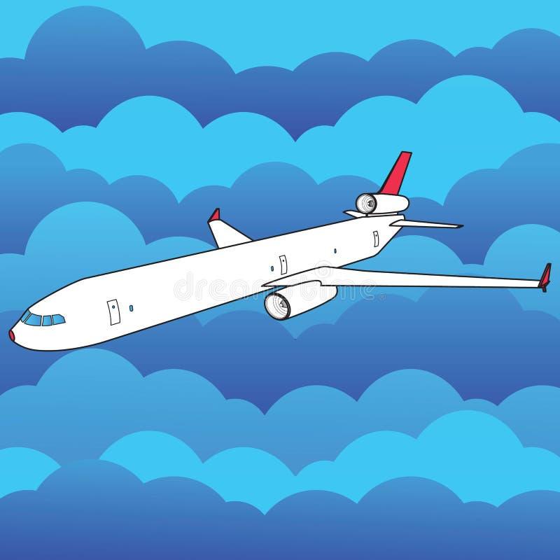平面飞行高上面和许多云彩 皇族释放例证