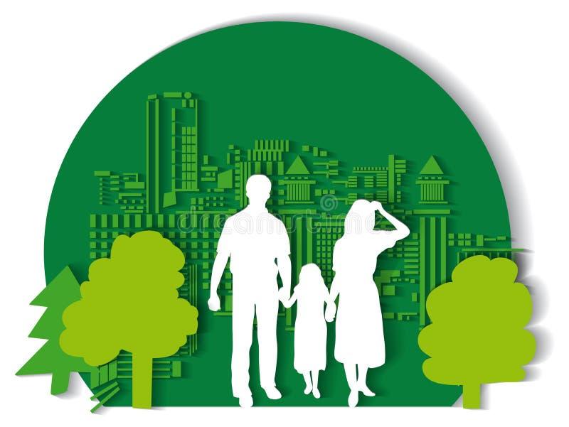 平绿色城市的家庭 皇族释放例证
