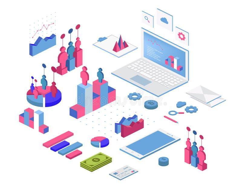 平3d等量infographic您的企业介绍的 大套与数据象、图和设计元素的infographics 库存例证