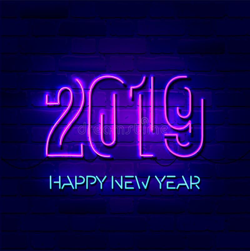 2019年与五颜六色的霓虹灯的新年快乐概念 设计介绍、飞行物、卡片、传单、海报或者岗位的元素 皇族释放例证