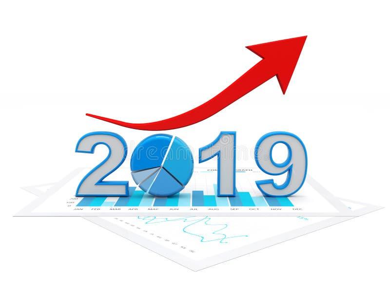 2019年與圖表和箭頭,企業成功概念 用圖表代表新年標志-觀看前面 3d在圖片