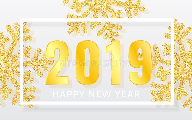 2019年与光亮的黄色雪花和白色框架的新年快乐背景 圣诞快乐和新年好卡片 传染媒介不适 向量例证