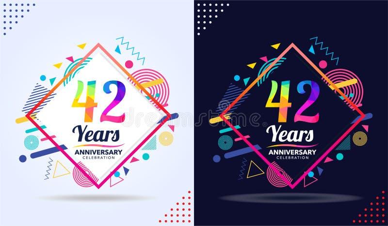 年与现代方形的设计元素、五颜六色的编辑,庆祝模板设计,白色和黑背景的周年 库存例证