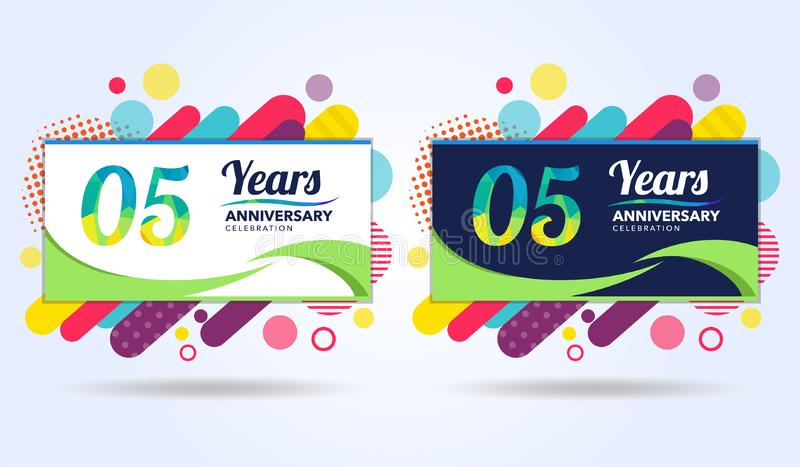 05年与现代方形的设计元素的周年,五颜六色的编辑,庆祝模板设计,流行音乐庆祝模板 向量例证
