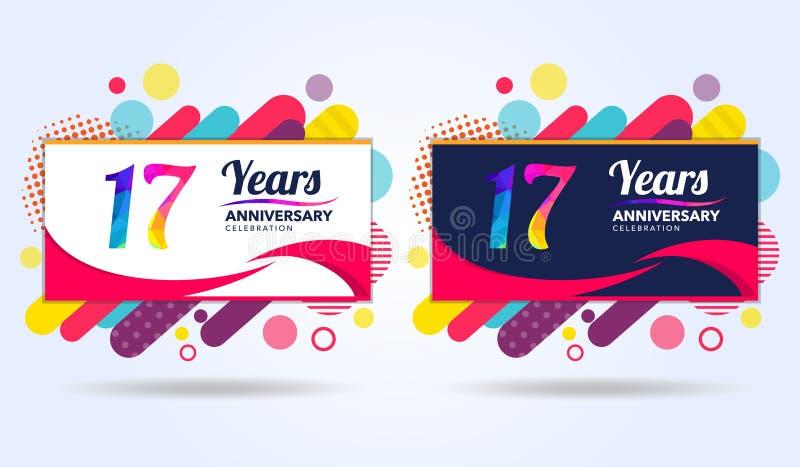 17年与现代方形的设计元素的周年,五颜六色的编辑,庆祝模板设计,流行音乐庆祝模板 向量例证