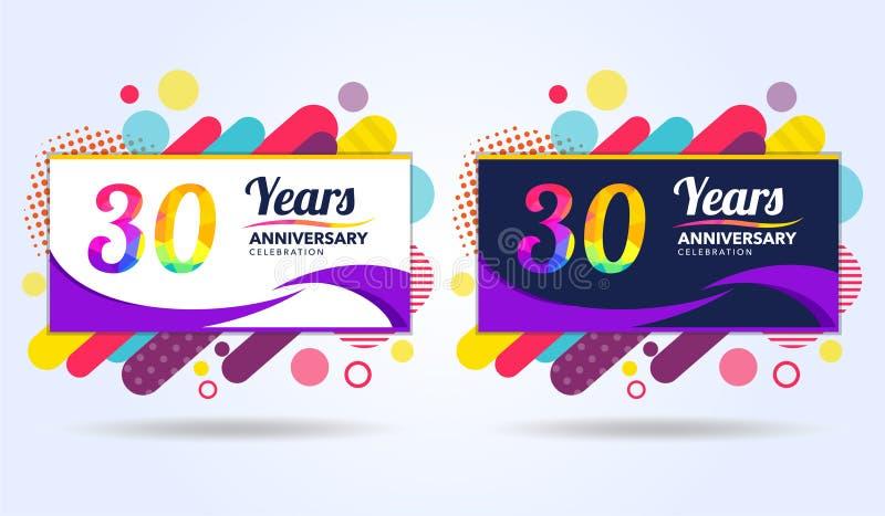 30年与现代方形的设计元素的周年,五颜六色的编辑,庆祝模板设计,流行音乐庆祝模板 向量例证