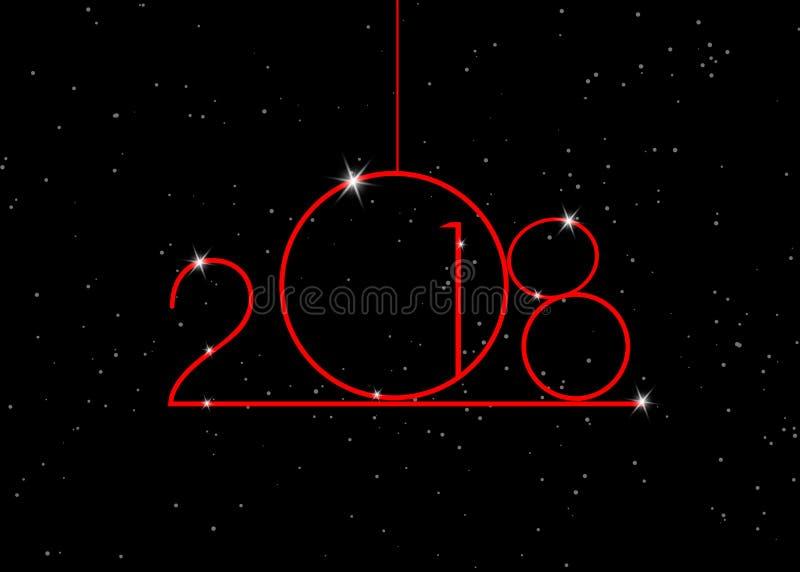 2018年与红色纹理丝毫圣诞节球的新年快乐 库存例证