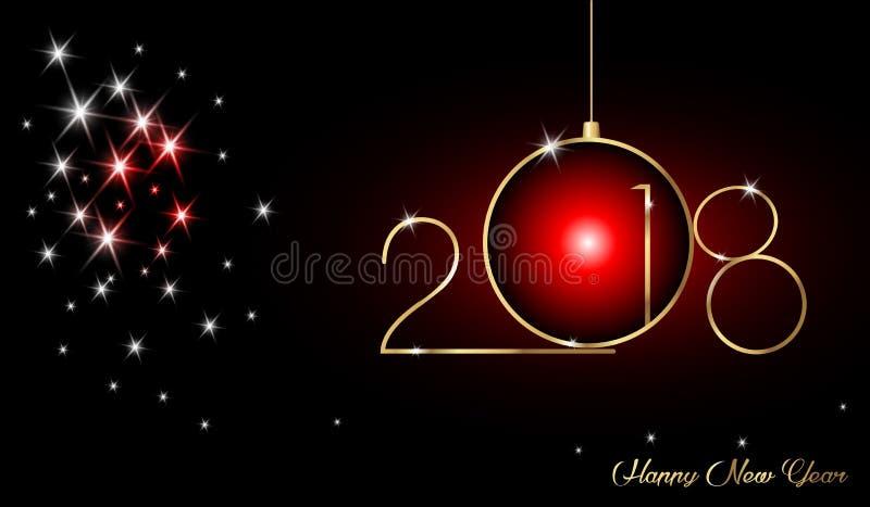2018年与金子纹理、现代背景、黑背景和星,日历的元素的新年快乐 皇族释放例证