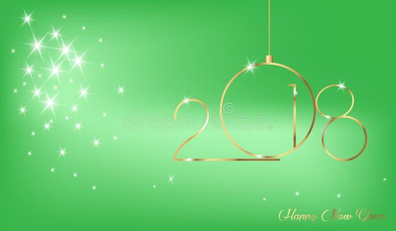 2018年与金子纹理、现代背景或者绿色背景,日历的元素的新年快乐 向量例证