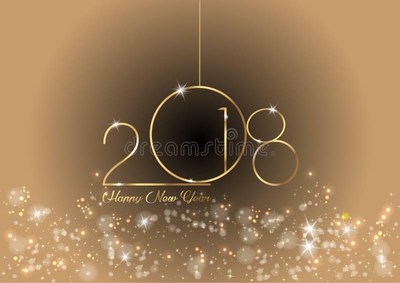 2018年与金子纹理、现代背景或者闪烁背景,日历的元素的新年快乐 向量例证