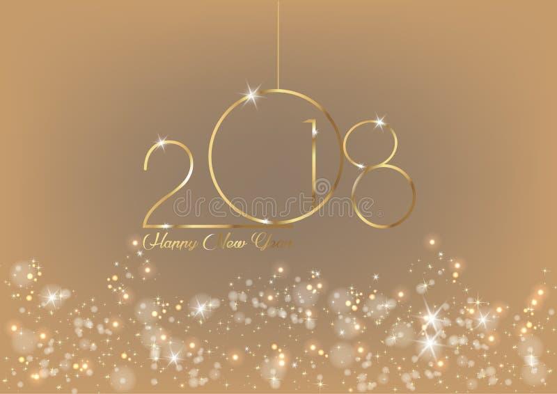 2018年与金子纹理、现代背景,被隔绝或闪烁背景,元素的新年快乐日历的 库存例证