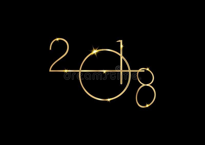2018年与金子纹理丝毫圣诞节球,金子被镀的金属,被隔绝的或者黑背景的新年快乐 向量例证