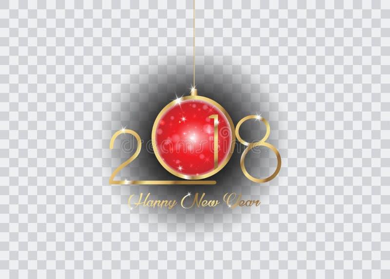 2018年与金子纹理丝毫红色圣诞节球,元素日历的和贺卡的新年快乐 皇族释放例证