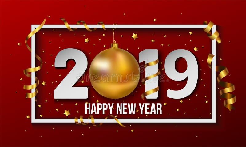 2019年与金黄圣诞节球中看不中用的物品和条纹元素的新年快乐背景 也corel凹道例证向量 向量例证
