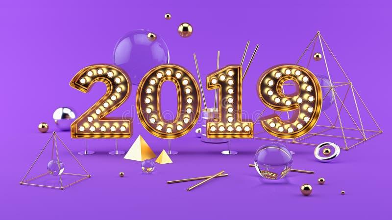 2019年与2019个金黄明亮的数字的新年快乐3D构成 皇族释放例证