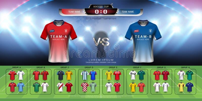2018年世界冠军橄榄球杯子小组集合,足球球衣大模型和记分牌比赛对战略播放了图表模板 皇族释放例证