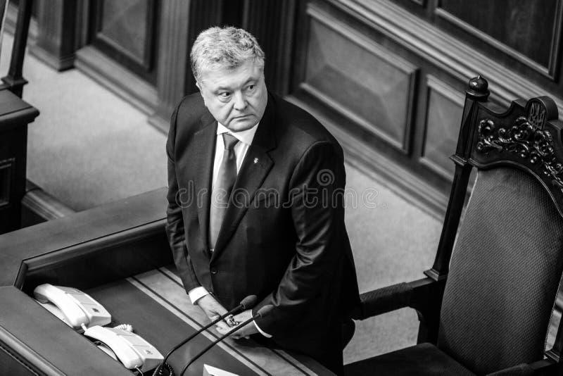 11 26 2018年乌克兰 Kyiv 乌克兰的Verkhovna Rada 投票支持在戒严令的法律在乌克兰 佩德罗波罗申科谈论 免版税库存图片