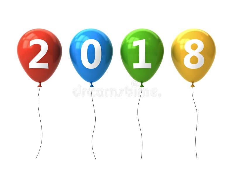 年二千十八,新年好2018年,在五颜六色的气球的白色2018文本被隔绝在白色背景 皇族释放例证