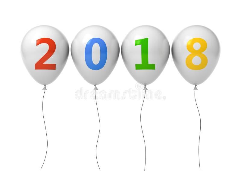 年二千十八,新年好2018年,在白色背景隔绝的白色气球的五颜六色的2018文本 库存例证