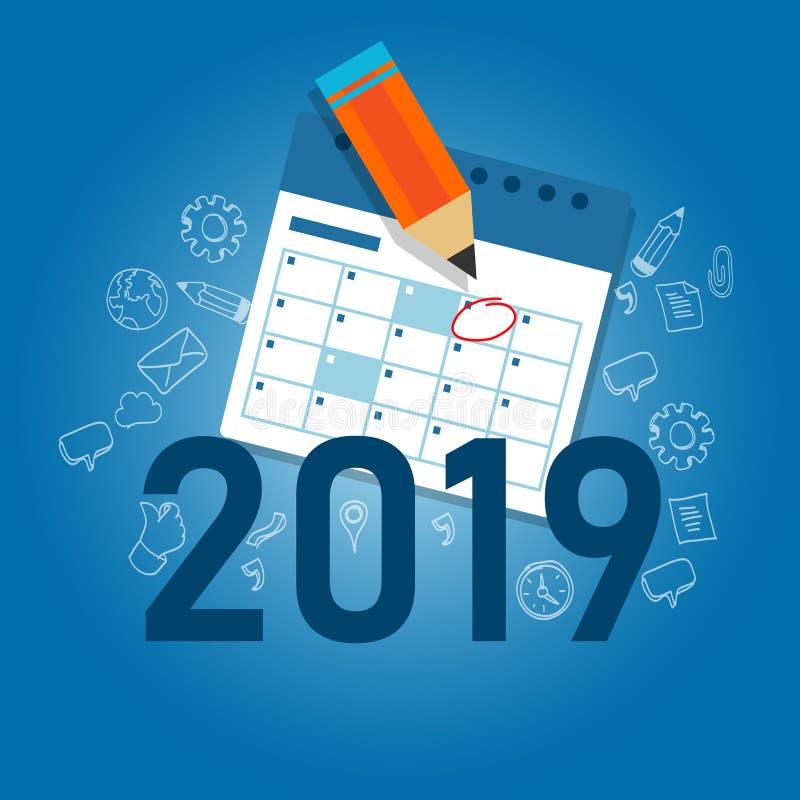 2019年企业日历文字与铅笔的工作目标 日程表新年议程 库存例证