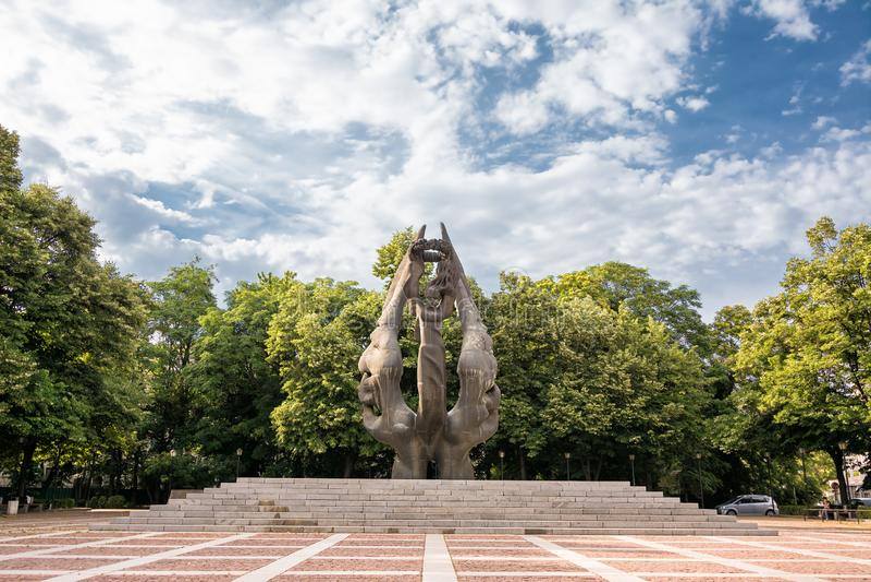 1885年保加利亚公国与东鲁梅利亚统一纪念碑 库存图片