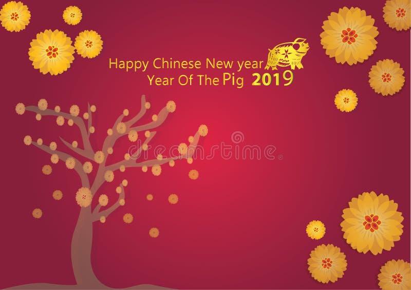 2019年农历新年,猪文本和贺卡的传染媒介设计,横幅,日历 皇族释放例证