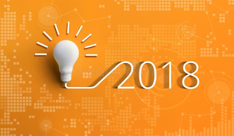 2018年创造性与电灯泡的启发概念 库存图片