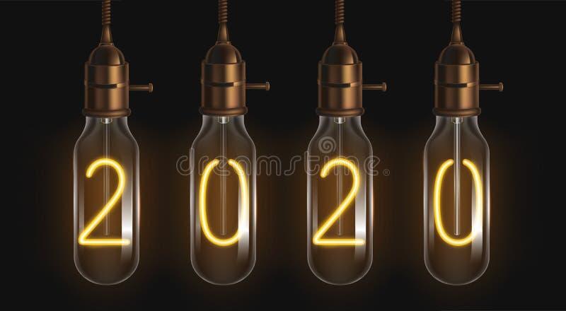 2020年发光的数字里面的细丝电灯泡 向量例证