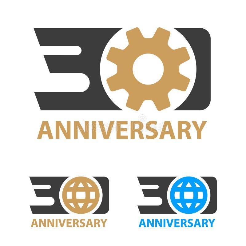 30年周年产业齿轮地球数字 免版税库存图片