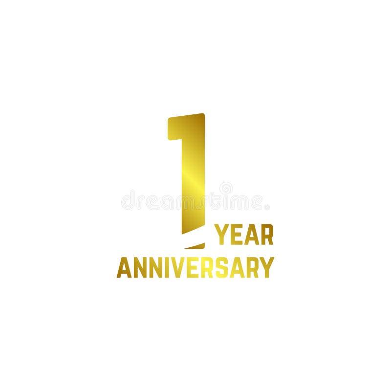 1年周年商标传染媒介模板设计例证 库存例证
