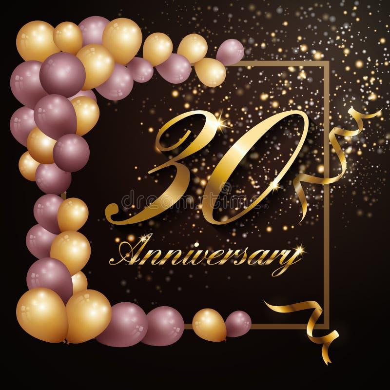 30年周年庆祝背景与豪华装饰的横幅设计 皇族释放例证