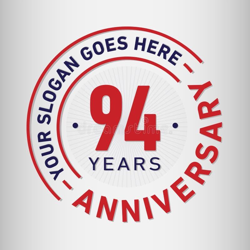 94年周年庆祝设计模板 周年传染媒介和例证 九十四年商标 库存例证