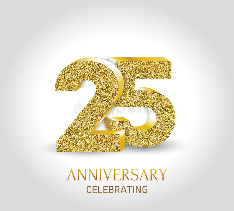 25 - 年周年横幅 与金元素的第25个周年3d商标 向量例证
