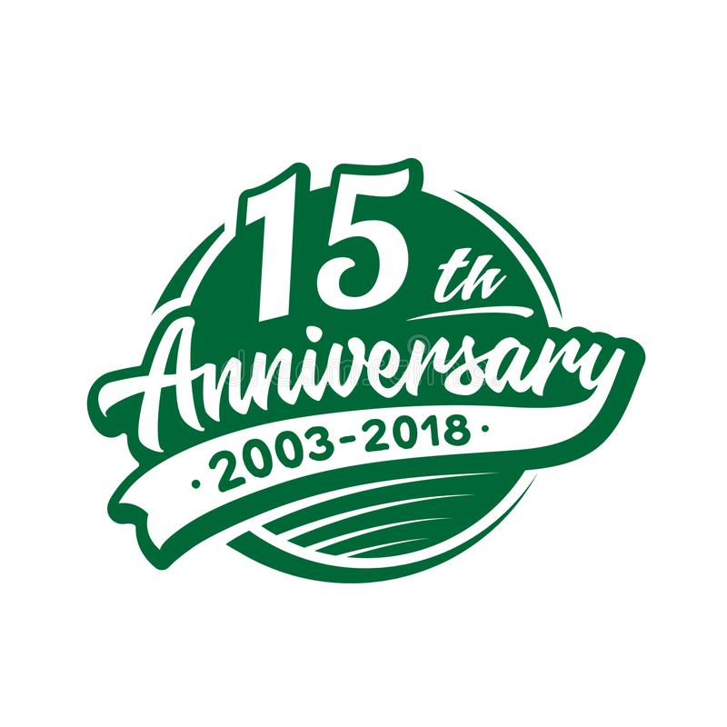 15年周年设计模板 传染媒介和例证 第15个商标 向量例证