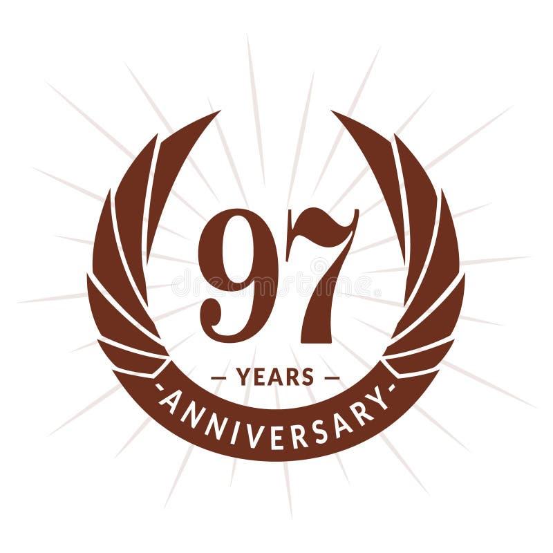 97年周年设计模板 典雅的周年商标设计 九十七年商标 向量例证