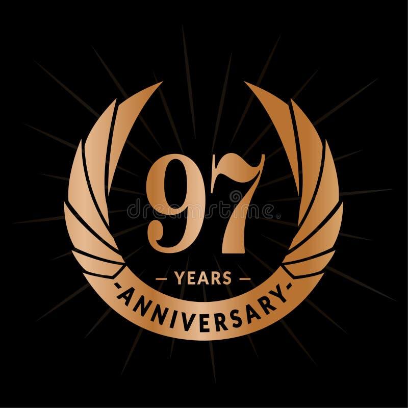 97年周年设计模板 典雅的周年商标设计 九十七年商标 库存例证
