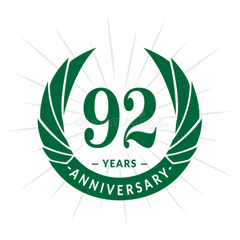 92年周年设计模板 典雅的周年商标设计 九十二年商标 向量例证