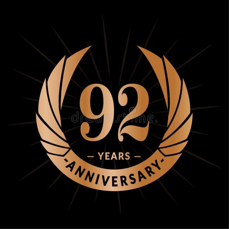 92年周年设计模板 典雅的周年商标设计 九十二年商标 皇族释放例证