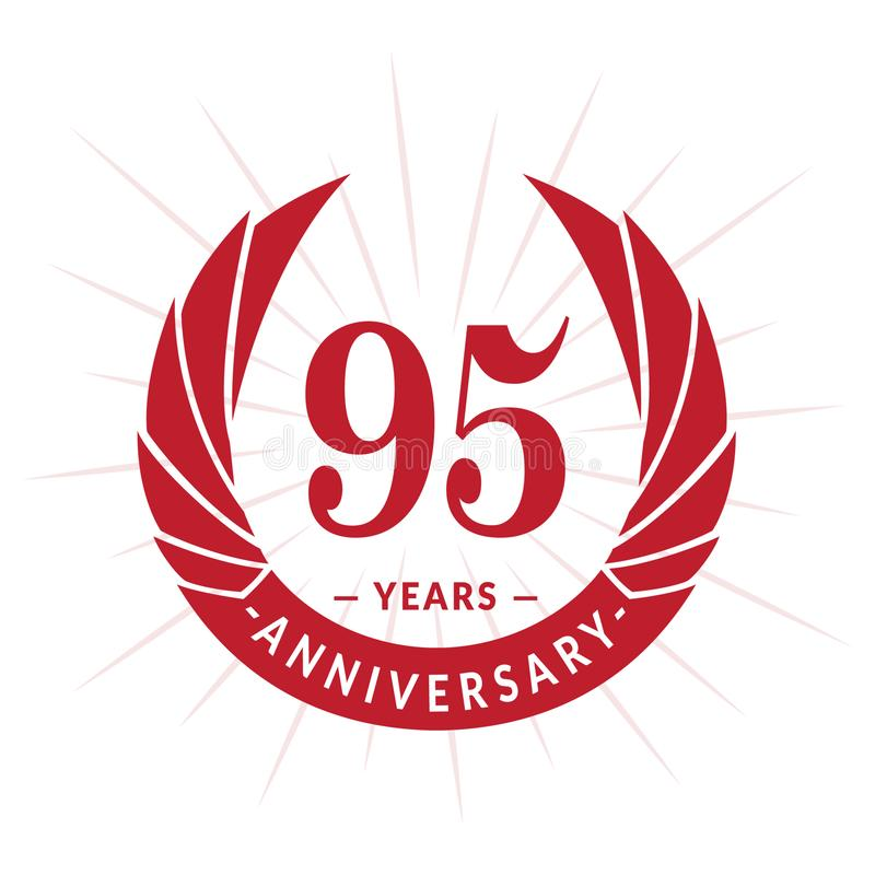 95年周年设计模板 典雅的周年商标设计 九十五年商标 库存例证