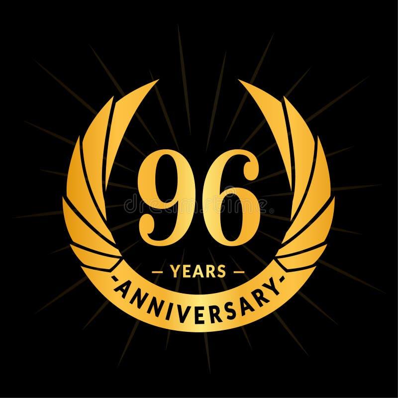 96年周年设计模板 典雅的周年商标设计 九十六年商标 向量例证