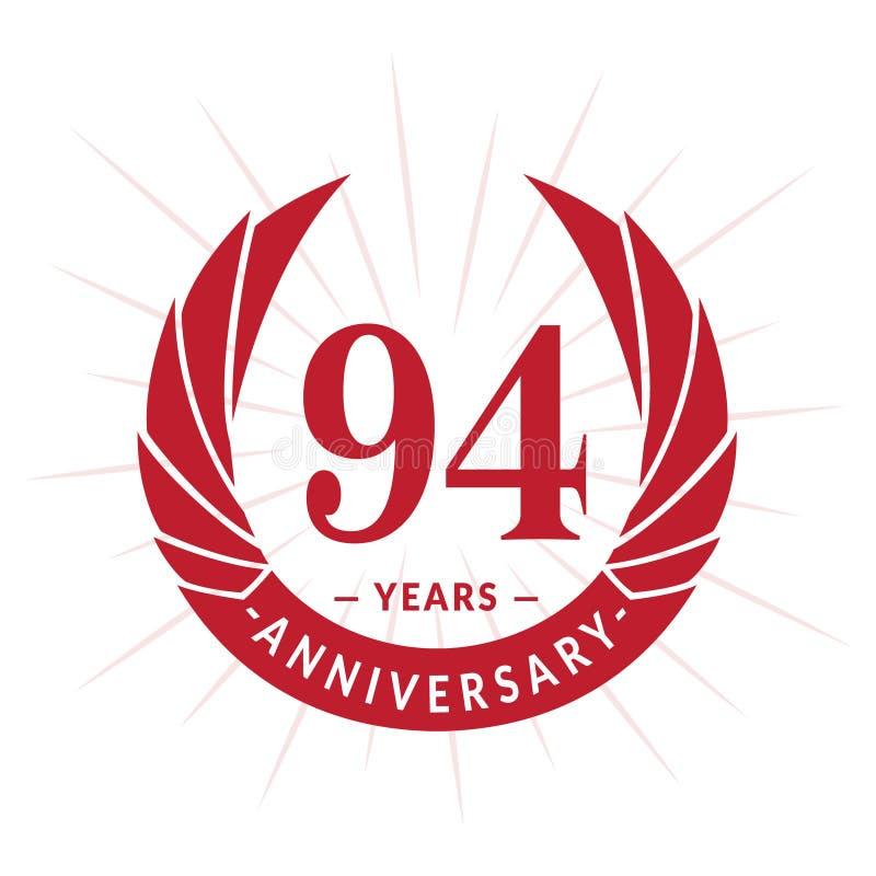 94年周年设计模板 典雅的周年商标设计 九十四年商标 皇族释放例证