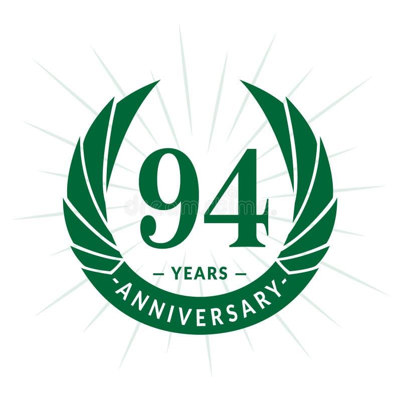 94年周年设计模板 典雅的周年商标设计 九十四年商标 向量例证