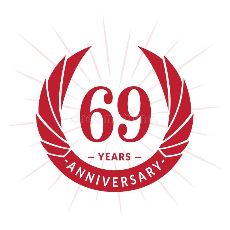 69年周年设计模板 典雅的周年商标设计 六十九年商标 向量例证