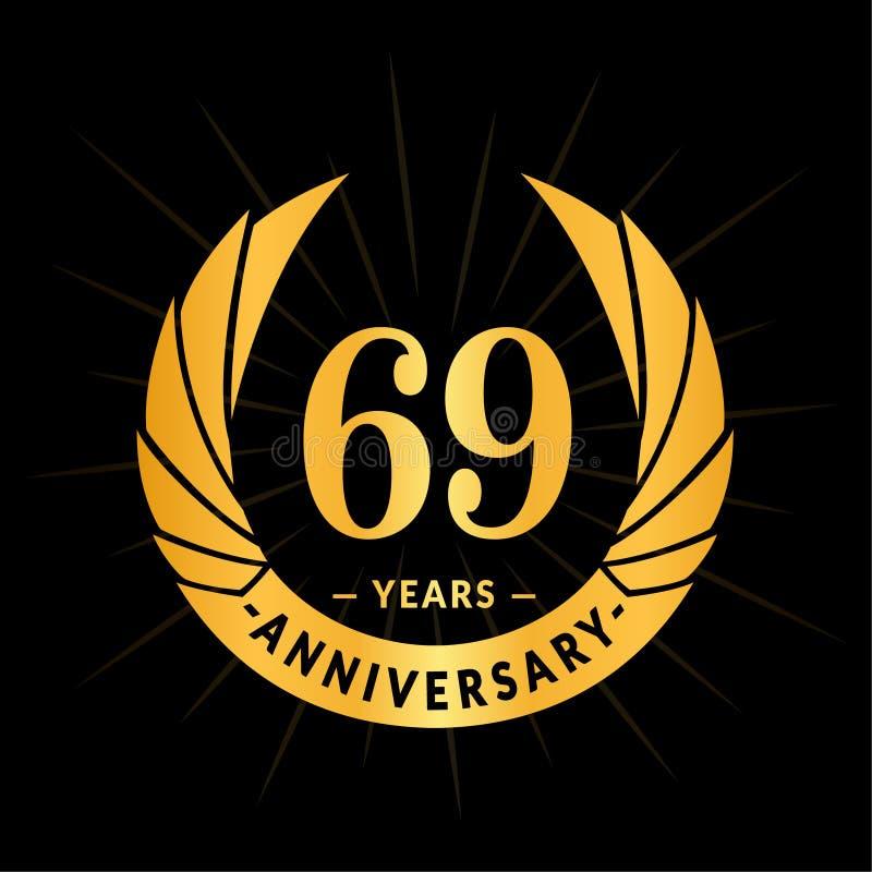 69年周年设计模板 典雅的周年商标设计 六十九年商标 皇族释放例证