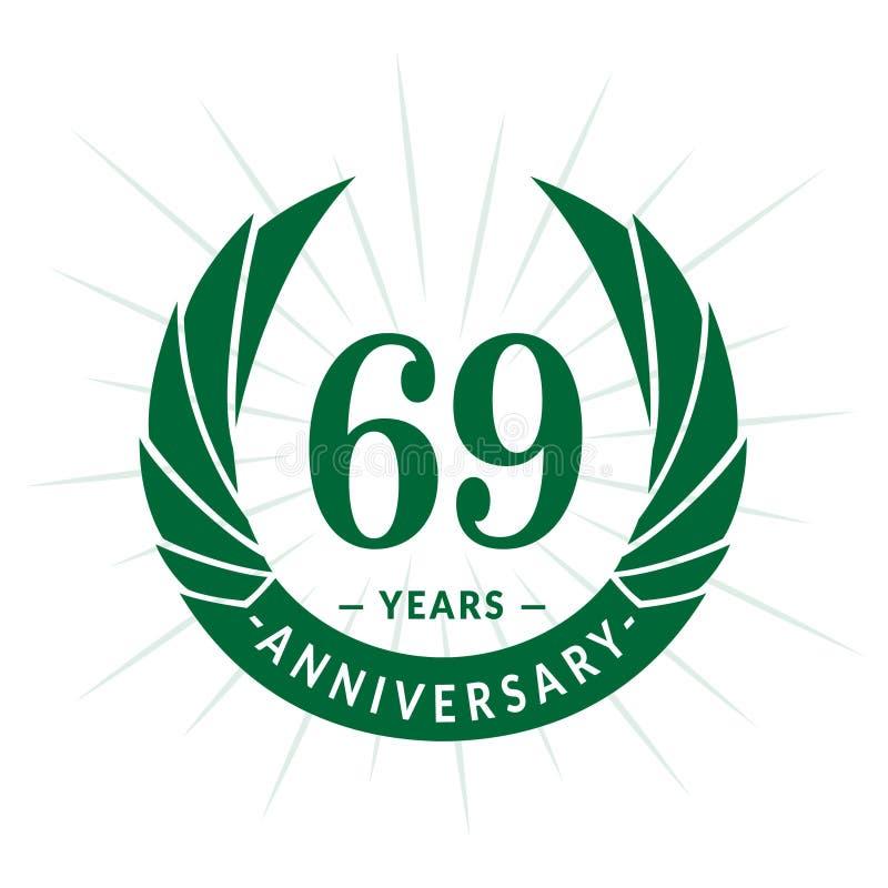 69年周年设计模板 典雅的周年商标设计 六十九年商标 库存例证