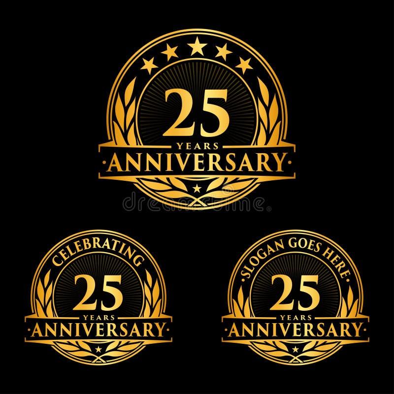 25年周年设计模板 周年传染媒介和例证 第25个商标 库存照片