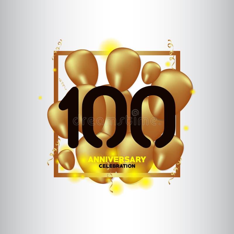 100年周年黑色金气球传染媒介模板设计例证 库存例证